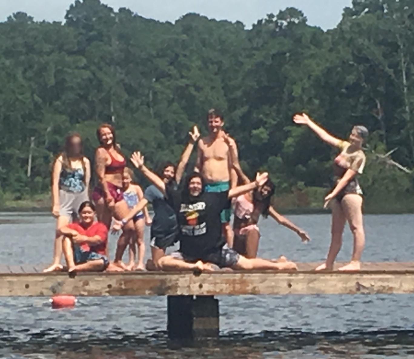 Backpacking Camp Swimming at the lake