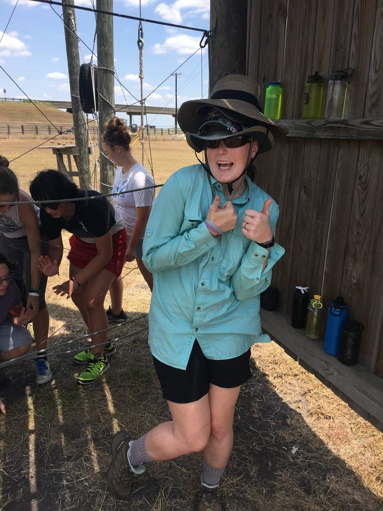 Kelsie being silly at the ropes course